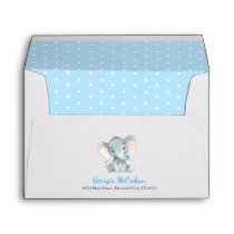 Elephant Baby Shower Invitation Blue and Gray Envelope