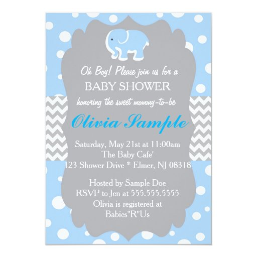 elephant baby shower invitation blue and grey 5 x 7 invitation c