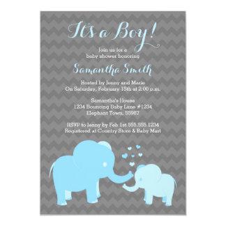 Elephant Baby Shower Invitation Blue Grey Chevron