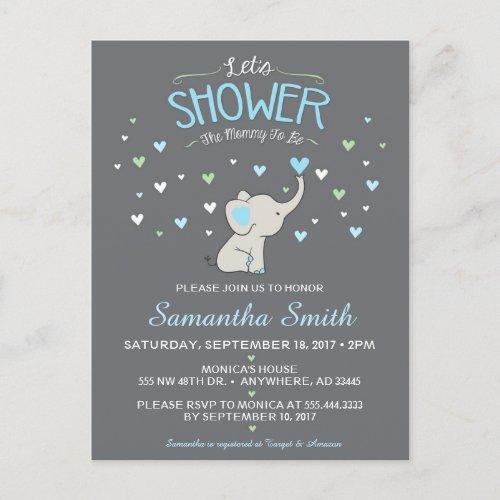 Elephant Baby Shower Invitation, Boy Baby Shower Invitation Postcard