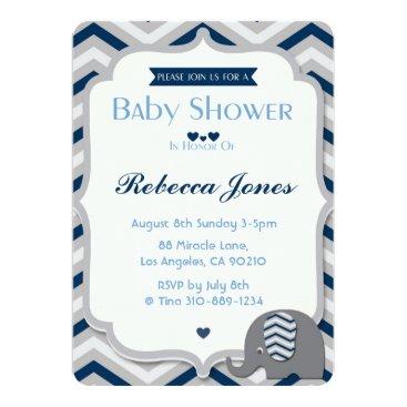 Beach Themed Elephant Baby Shower Invitation Boy Blue Chevron