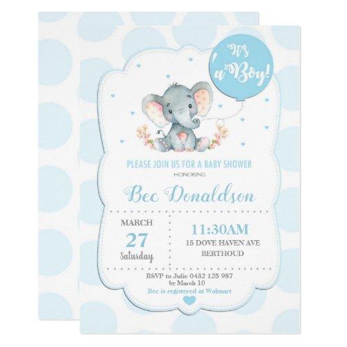 Elephant Baby Shower Invitation Boy Blue Polka Dot