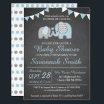 "Elephant Baby Shower Invitation Boy - Chalkboard<br><div class=""desc"">Chalkboard themed elephant baby shower invitations! Perfect for a boy themed baby shower! Check out our matching items.</div>"