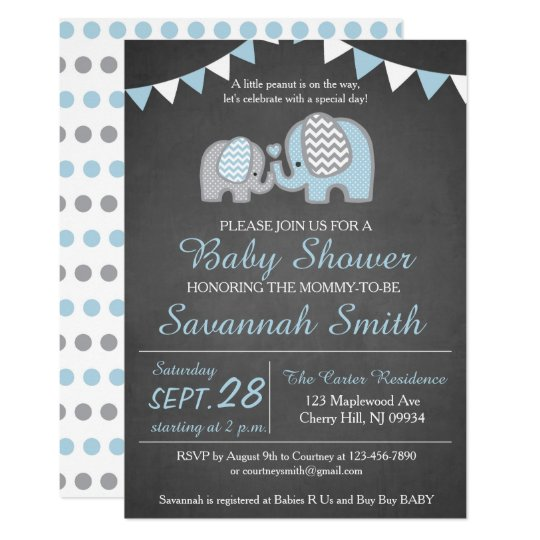 Elephant Baby Shower Invitation Boy Chalkboard Zazzle Com