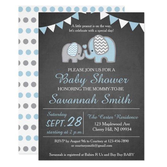 Attractive Elephant Baby Shower Invitation Boy   Chalkboard