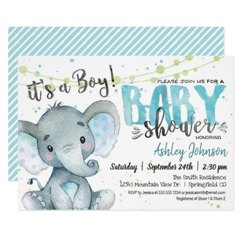 Elephant Baby Shower invitation Boy Invitation