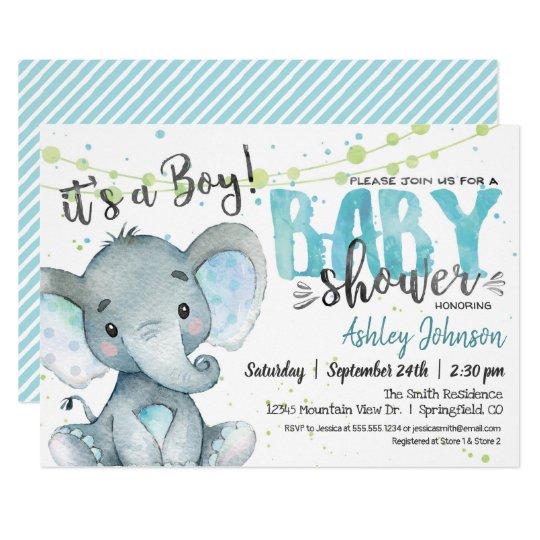 Elephant Baby Shower Invitation Boy Invitation