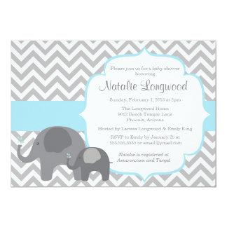 "Elephant Baby Shower Invitation, chevron blue boy 5"" X 7"" Invitation Card"