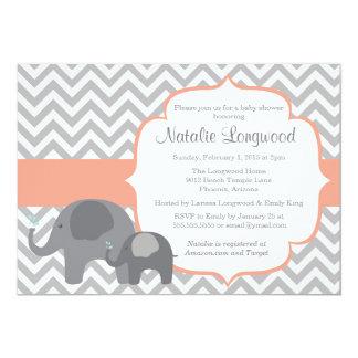 "Elephant Baby Shower Invitation, chevron coral 5"" X 7"" Invitation Card"
