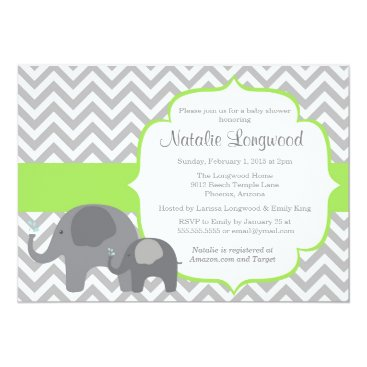 Toddler & Baby themed Elephant Baby Shower Invitation, chevron green Card