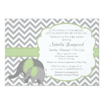 Elephant Baby Shower Invitation Chevron mint green