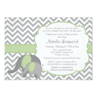 Elephant Baby Shower Invitation Chevron mint green