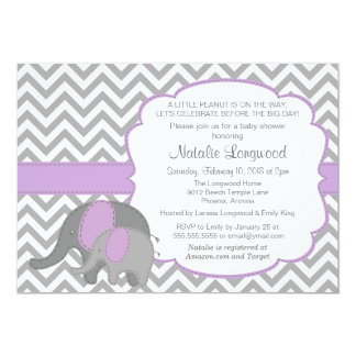 Elephant Baby Shower Invitation, Chevron, purple Card