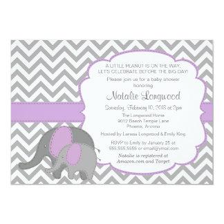 Elephant Baby Shower Invitation, Chevron, purple Card