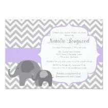 Elephant Baby Shower Invitation, chevron purple Card