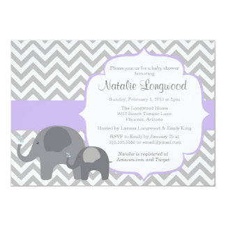 Elephant Baby Shower Invitation, chevron purple Card