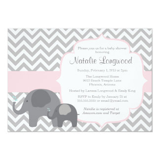 Elephant Baby Shower Invitation, chevron with pink Card