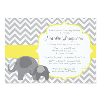 Elephant Baby Shower Invitation, chevron yellow Card