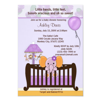 ELEPHANT Baby Shower Invitation Crib PURPLE CJ-E