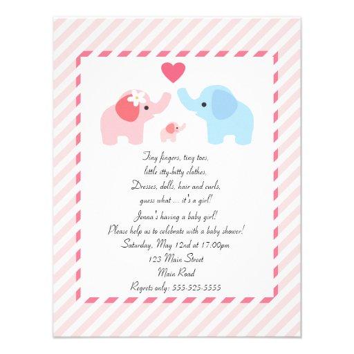 elephant baby shower invitation for girls x 5 5 invitation c