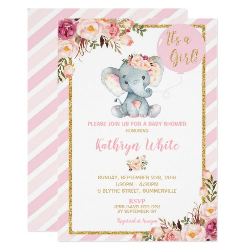 Elephant Baby Shower Invitation Girl Stripes
