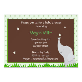 Elephant baby shower invitation green brown