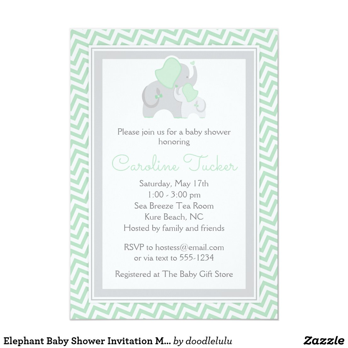 Elephant Baby Shower Invitation Mint Green Chevron