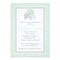 Elephant Baby Shower Invitation Mint Green Chevron