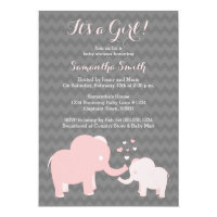 Pink elephant invitations announcements zazzle elephant baby shower invitation pink and grey filmwisefo