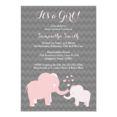 Elephant Baby Shower Invitation Pink And Grey at Zazzle