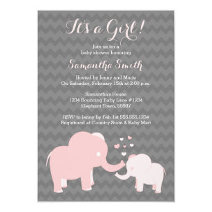 Elephant baby shower invitations zazzle elephant baby shower invitation pink and grey filmwisefo