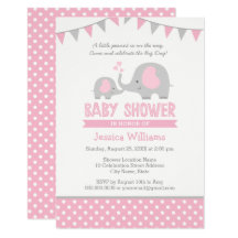 Pink elephant invitations announcements zazzle filmwisefo Gallery