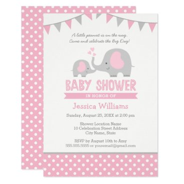 Toddler & Baby themed Elephant Baby Shower Invitation Pink and Grey