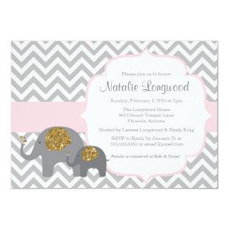 Elephant Baby Shower Invitation, pink gold glitter 5x7 Paper Invitation Card