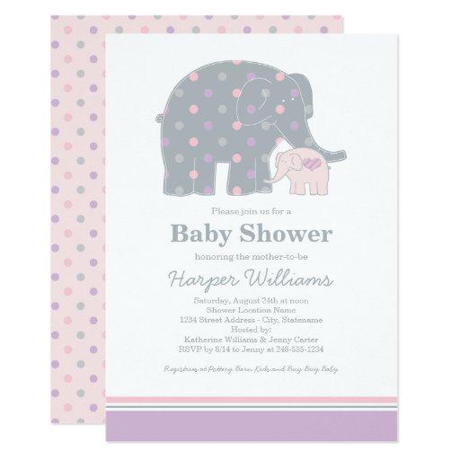elephant baby shower invitation purple pink gray zazzle