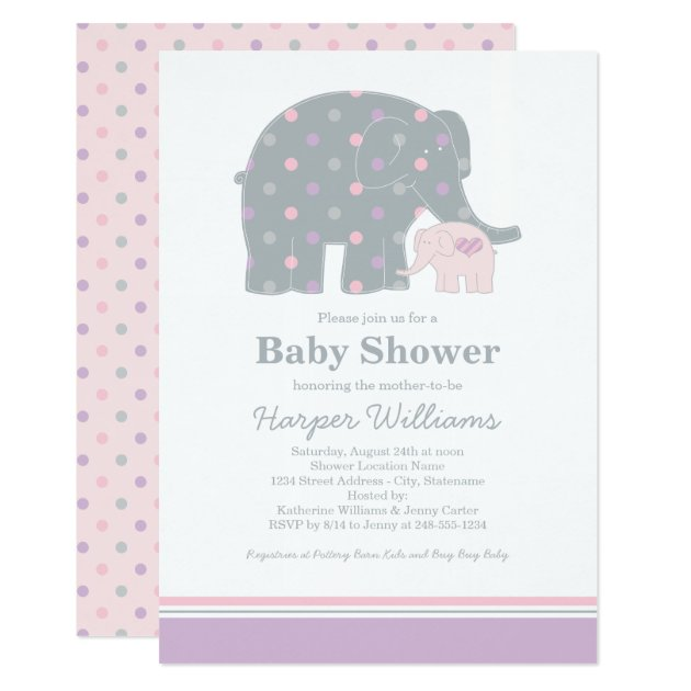 elephant baby shower invitation | purple pink gray | zazzle, Baby shower invitations