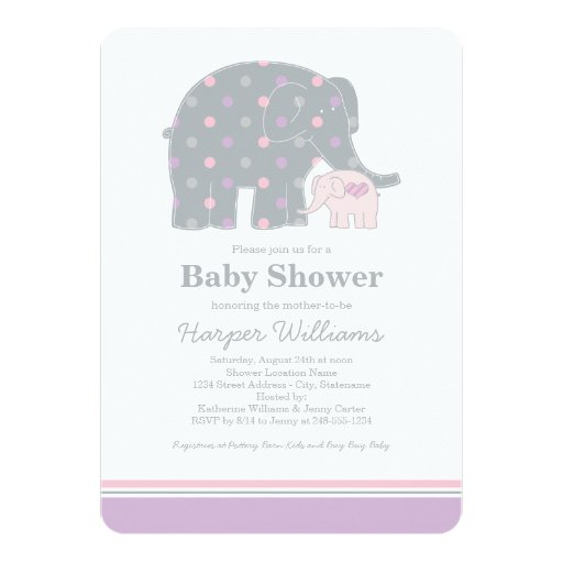 elephant baby shower invitation purple pink gray 5 x 7 invitati