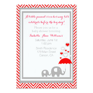 "elephant Baby Shower Invitation- Red and Gray 5"" X 7"" Invitation Card"
