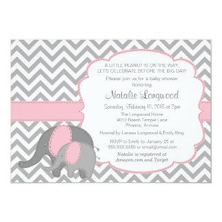 Elephant Baby Shower Invitation with Chevron, pink