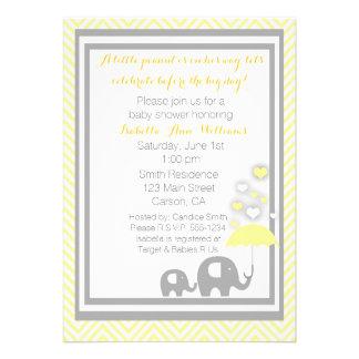 Elephant Baby Shower Invitation- Yellow and Gray