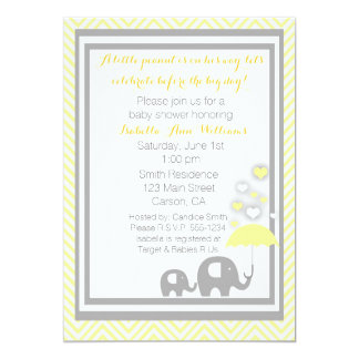 Elephant Baby Shower Invitation- Yellow and Gray 5x7 Paper Invitation Card