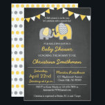 "Elephant Baby Shower Invitation Yellow and Grey<br><div class=""desc"">Chalkboard elephant baby shower invitations in yellow and grey!</div>"