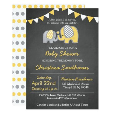 Toddler & Baby themed Elephant Baby Shower Invitation Yellow and Grey