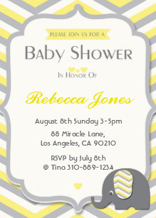 Yellow and grey baby shower invitations zazzle elephant baby shower invitation yellow chevron filmwisefo