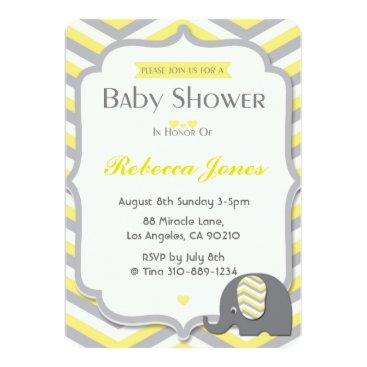Toddler & Baby themed Elephant Baby Shower Invitation Yellow Chevron
