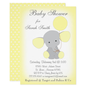 Elephant yellow gray baby shower invitations announcements zazzle elephant baby shower invitation yellow gray filmwisefo