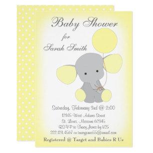 Elephant yellow gray baby shower invitations zazzle elephant baby shower invitation yellow gray filmwisefo