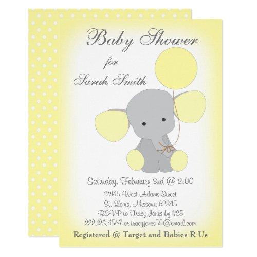 Elephant Baby Shower Invitation Yellow Gray
