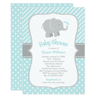 Elephant Baby Shower Invitations | Aqua and Gray