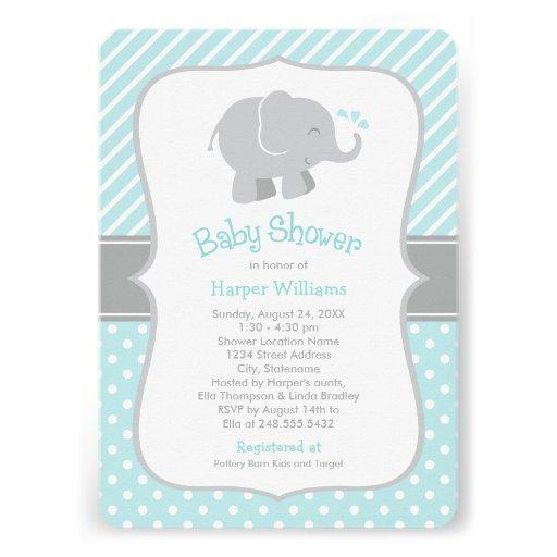 Elephant Baby Shower Invitations | Aqua and Gray